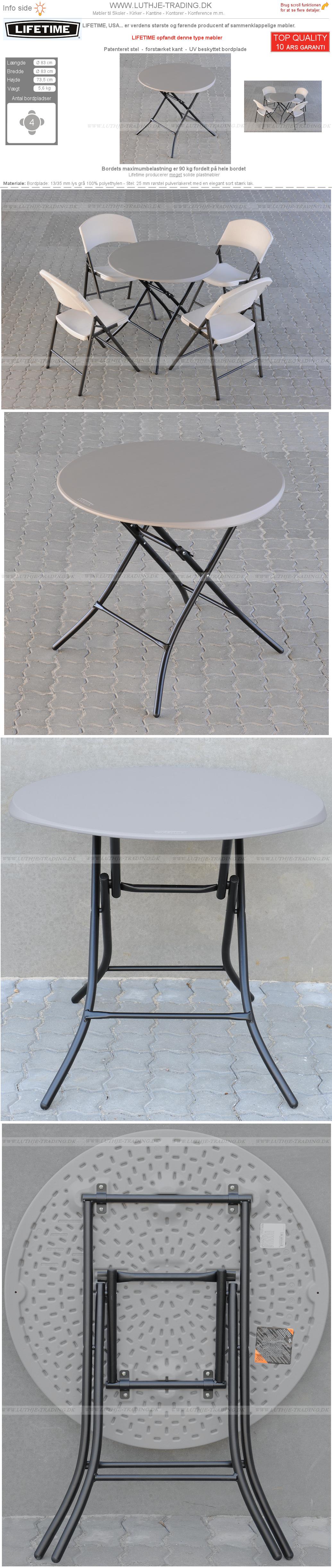 Rundt plastbord Lifetime Ø 83 cm